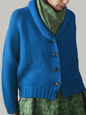 Plus Size Vintage Cotton-Blend Buttoned Cardigans
