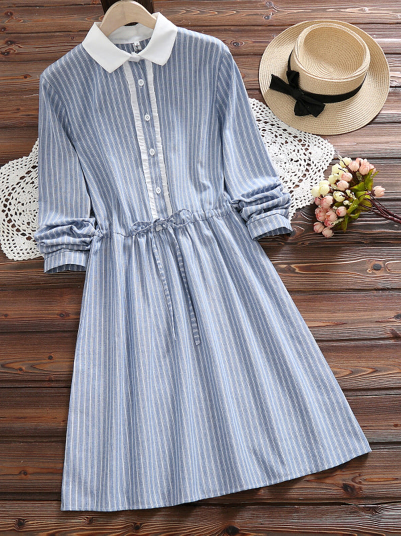 Lightblue Sweet Pin Stripe Linen/Cotton Midi Dress