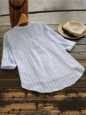 Casual V Neck Striped With Tap Sleeve Women Shirt