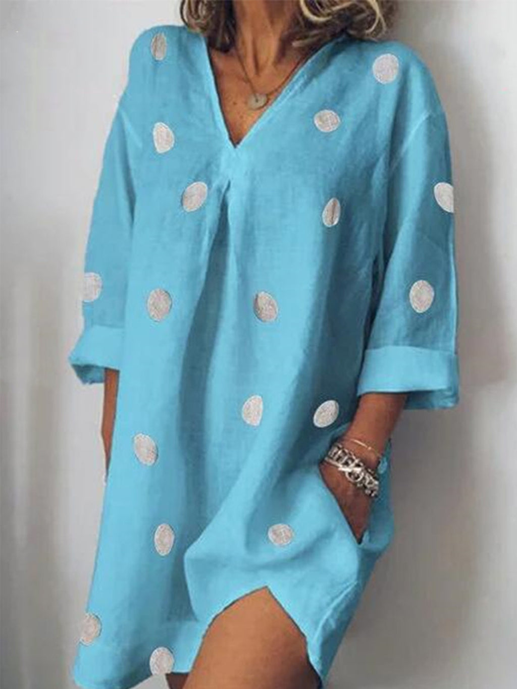 Polka Dot Print Casual V Neck Pocket Midi Dress