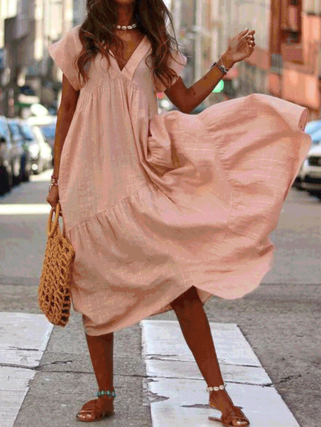 V Neck Loose Colors Slope Hip Yoke Flare Dress