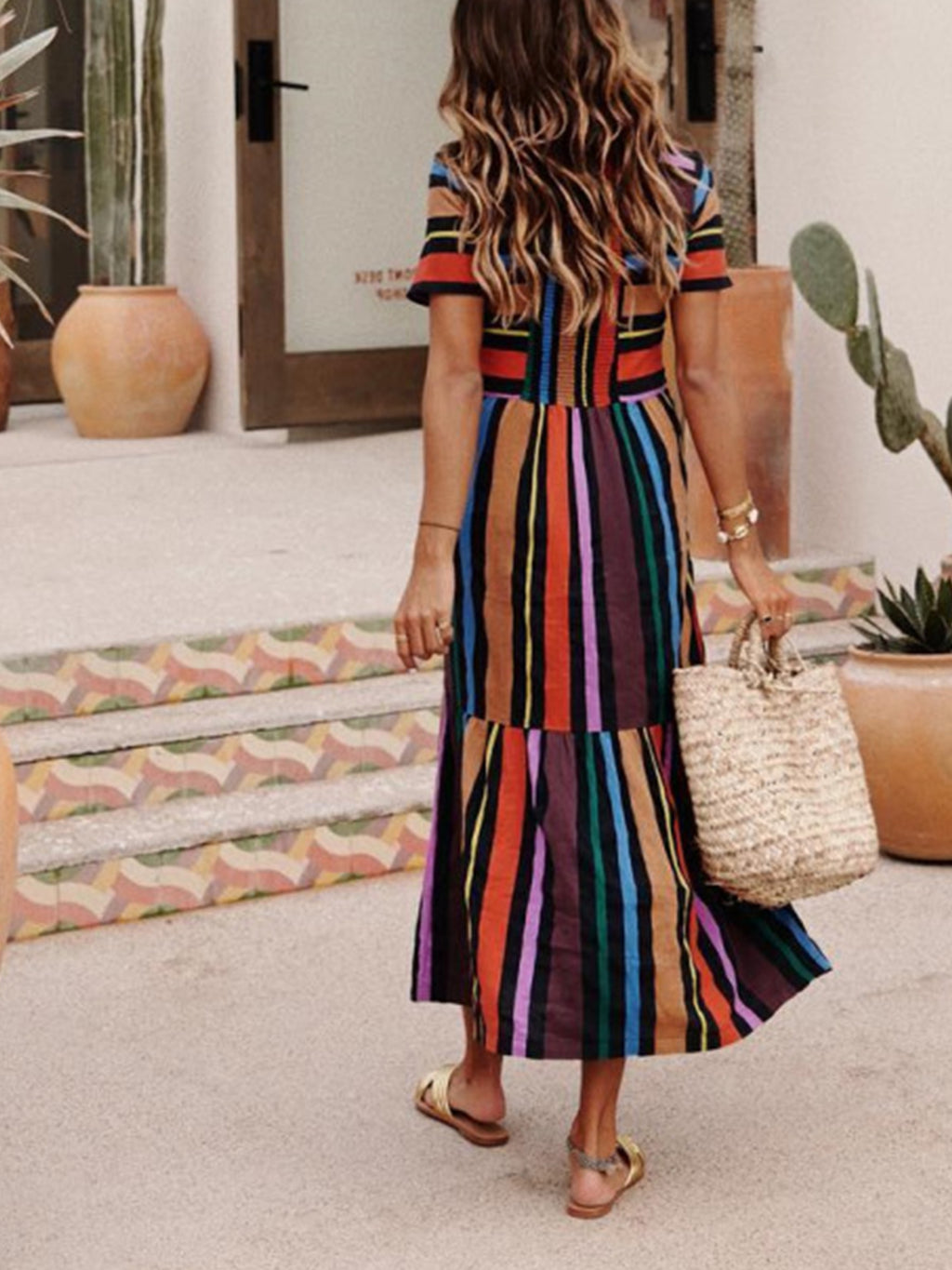 Short Sleeve Multicolor Striped Paneled Maxi Dress