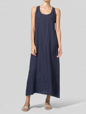 Solid Round Neck Sleeveless A-Line Linen/Cotton Midi Dress