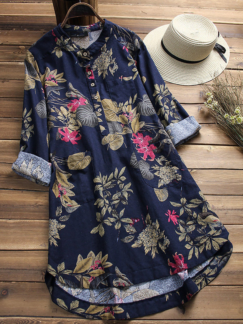 Vintage Floral Asymmetric Shawl Collar Natural Midi Dress