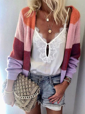 Plus Size Multicolor Stripe Long Sweater Cardigan