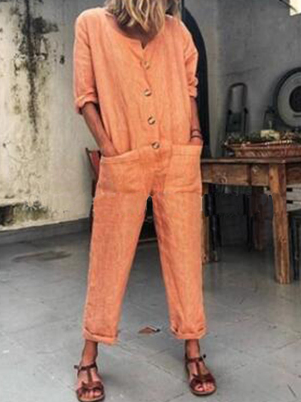 Solid Orange Pocket Long Sleeve Jumpsuits