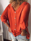 V Neck Batwing Sleeve Back Button Detail T-shirt