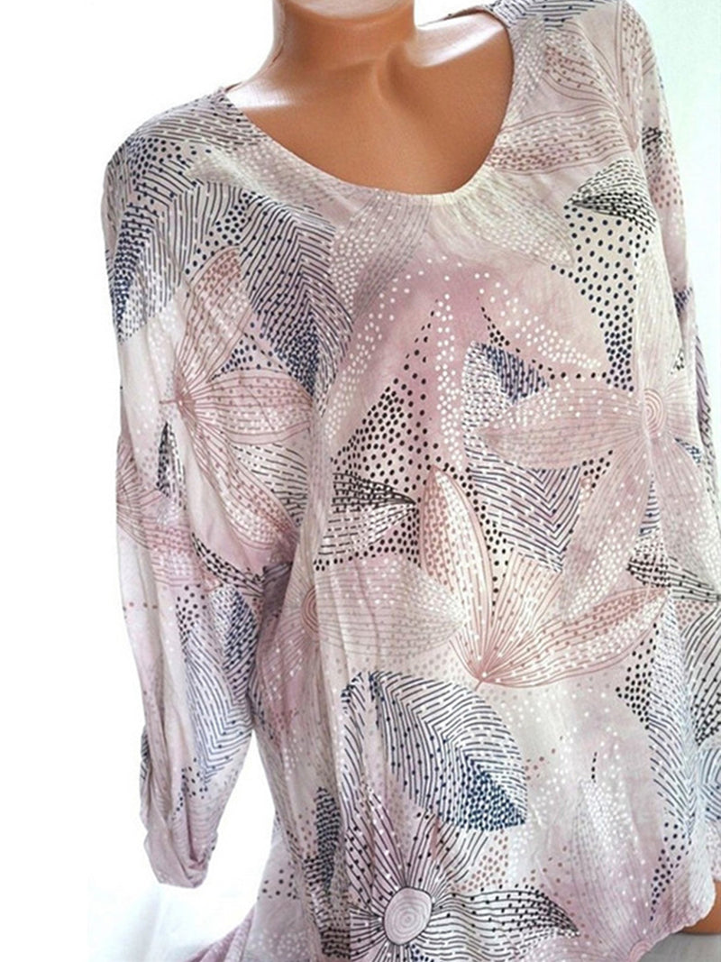 Band-up Sleeve V Neck Print Long Sleeve T-shirt