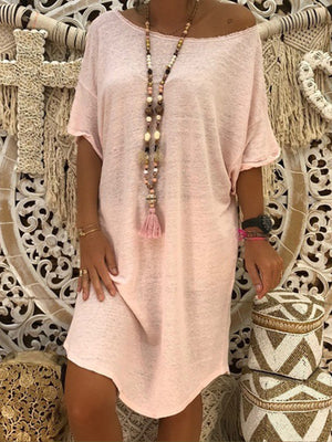 Summer Knit Short Sleeve Round Neck Loose Shift Dress