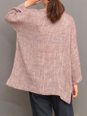 Plus Size Long Sleeve Shift Solid Crew Neck Casual Linen Blouse