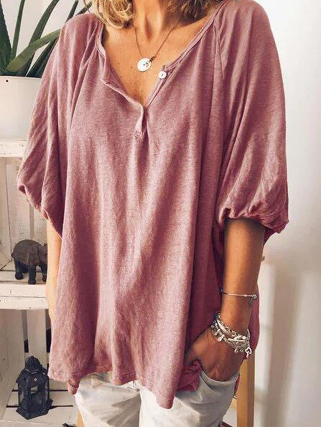 Solid Button Placket V Neck Casual Blouse