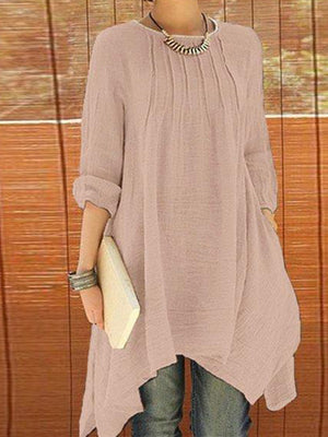 Solid Long Sleeve Crew Neck Asymmetrical Plus Size Blouse