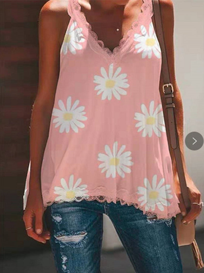 Floral Print Lace Shoulder Strap Sling Tank Top