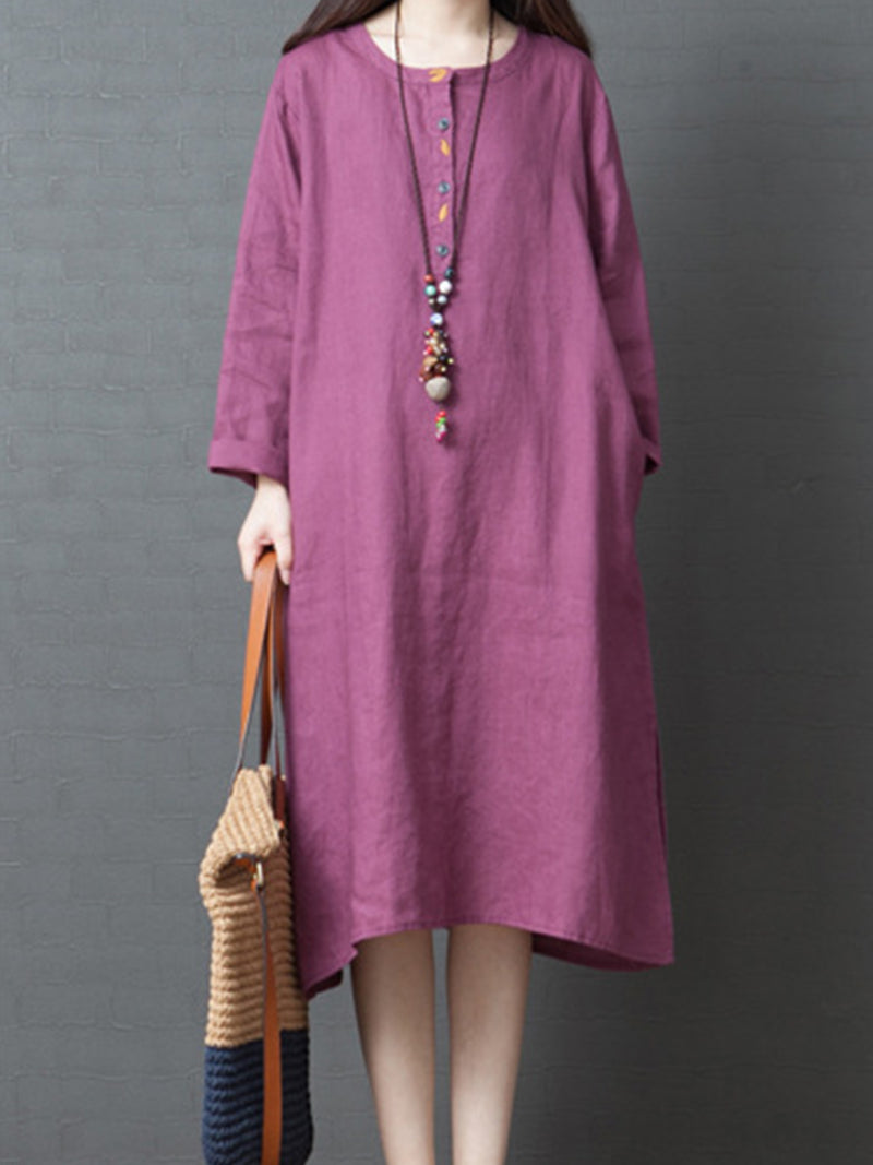 Loose Embroidery Placket Long Sleeve Midi Dress