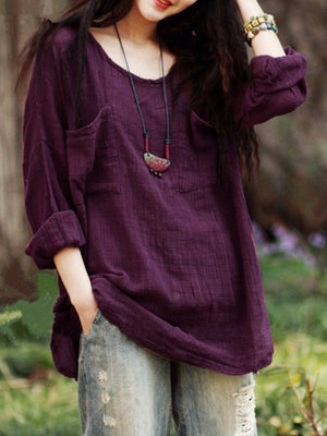 Loose Linen/Cotton Long Sleeve Pullover Neck Women Blouse