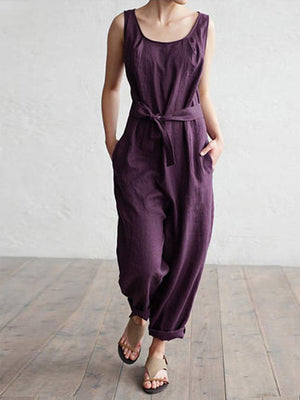 Casual sleeveless cotton jumpsuits with pockets