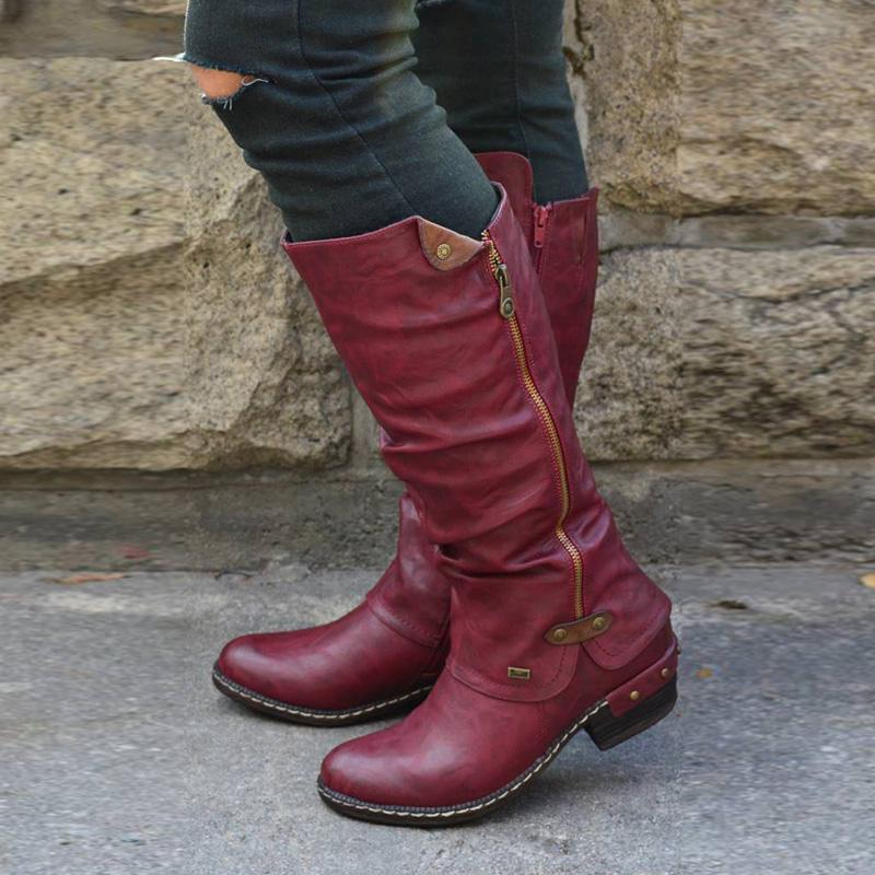 Side-Zipper Buckle Rivet Low Heels Mid-Calf Boots