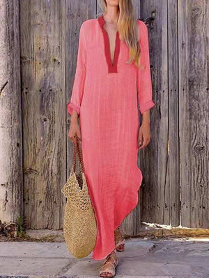 Loose V Neck Slit Maxi Flok Style Dress
