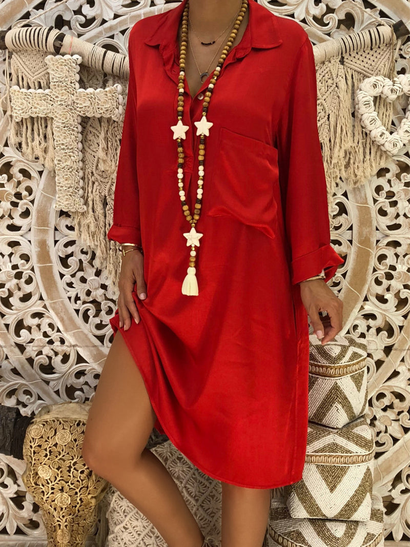 V-Neck Red Shift Women Daily Long Sleeve Casual Cotton Solid Spring Dress