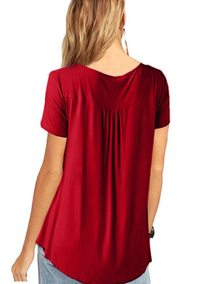 Short Sleeve Solid Cotton Casual Gathering Chest Yoke V neck T-Shirt