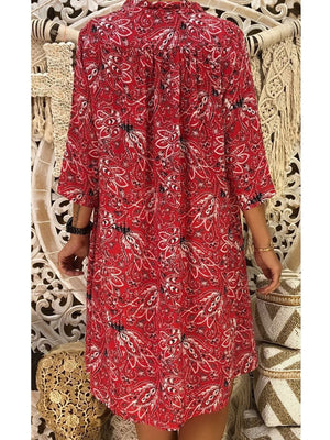 Women Floral 3/4 Sleeve Deep V Neck Loose Bohemia Dress