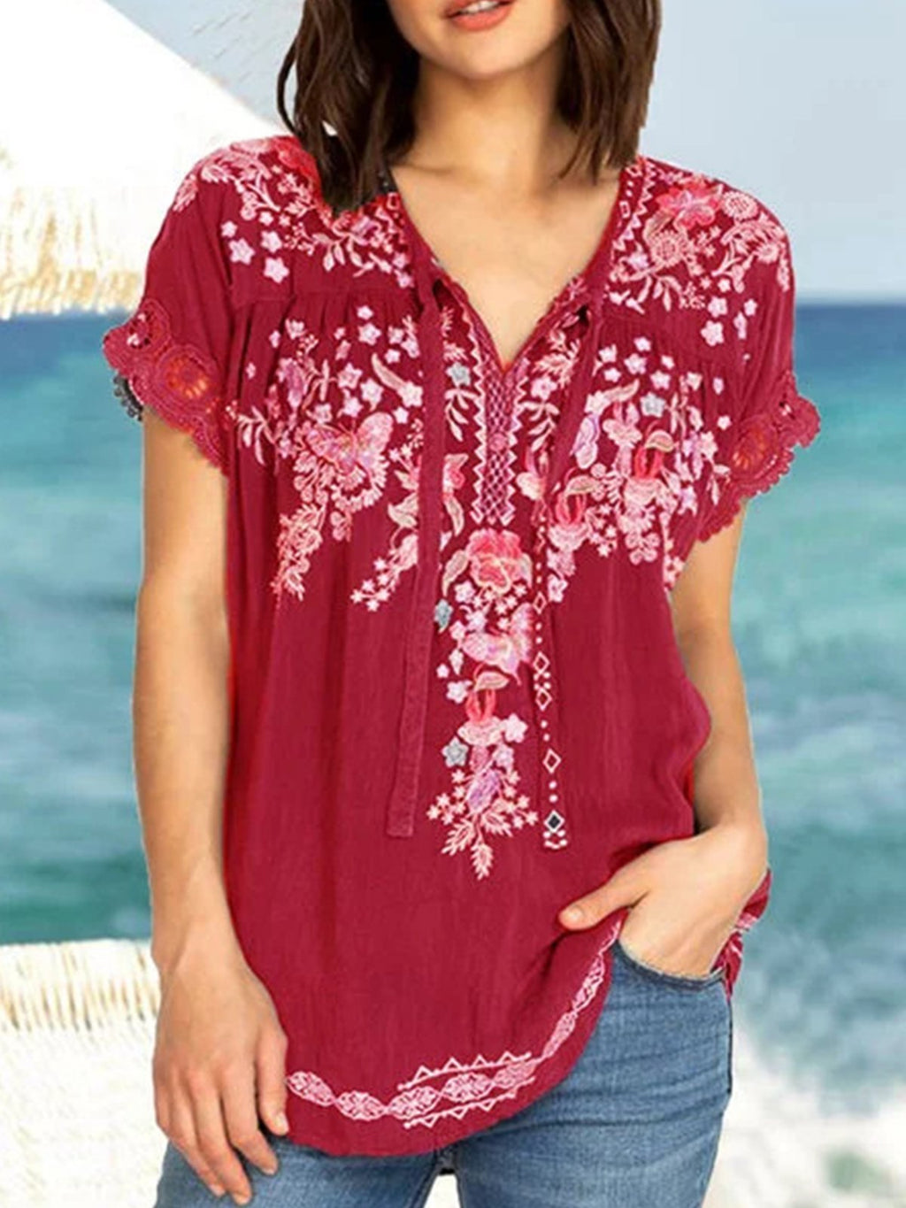 Summer Loose Floral Embroidery Lace Short-Sleeved Blouse