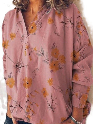 V Neck Pullover Floral Print Women Loose Plus Size Blouse