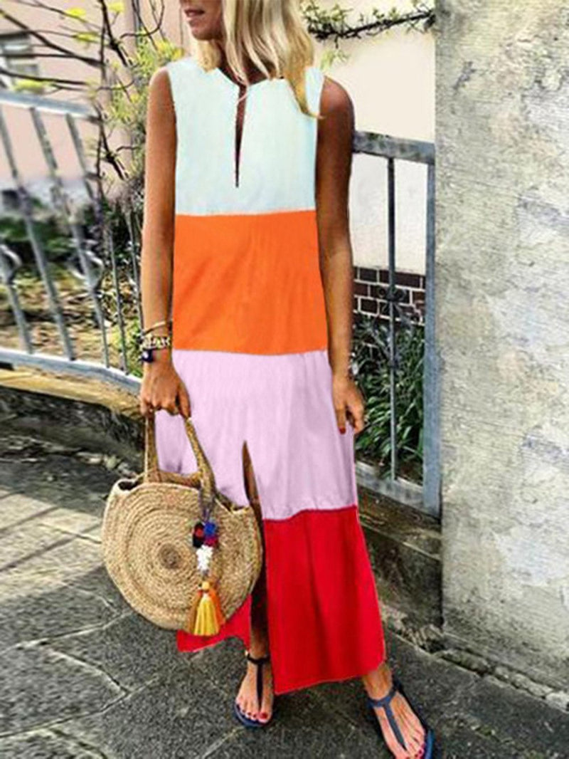 Color Block V Neck Sleeveless Shift Maxi Slit Dress
