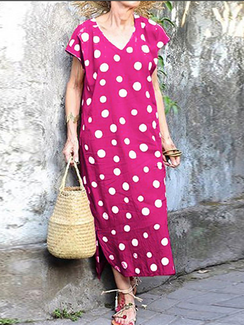 Summer Vintage Elegant V Neck Polka Dot Print Slit Midi Dress