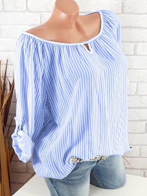 Women Loose Striped Long Sleeve With Sleeve Tap Blouse