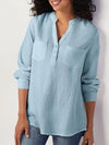 Plus Size Solid Stand Collar Buttoned V Neck Double Patch Pocket Blouse