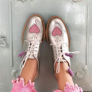 Cute Sweetheart Tassel Lace Lace-Up Flats