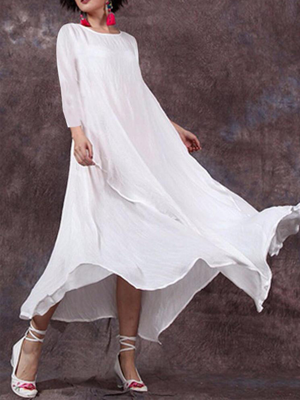 Linen/Cotton Long Sleeve Asymmetric High Rise Swing Flare Dress