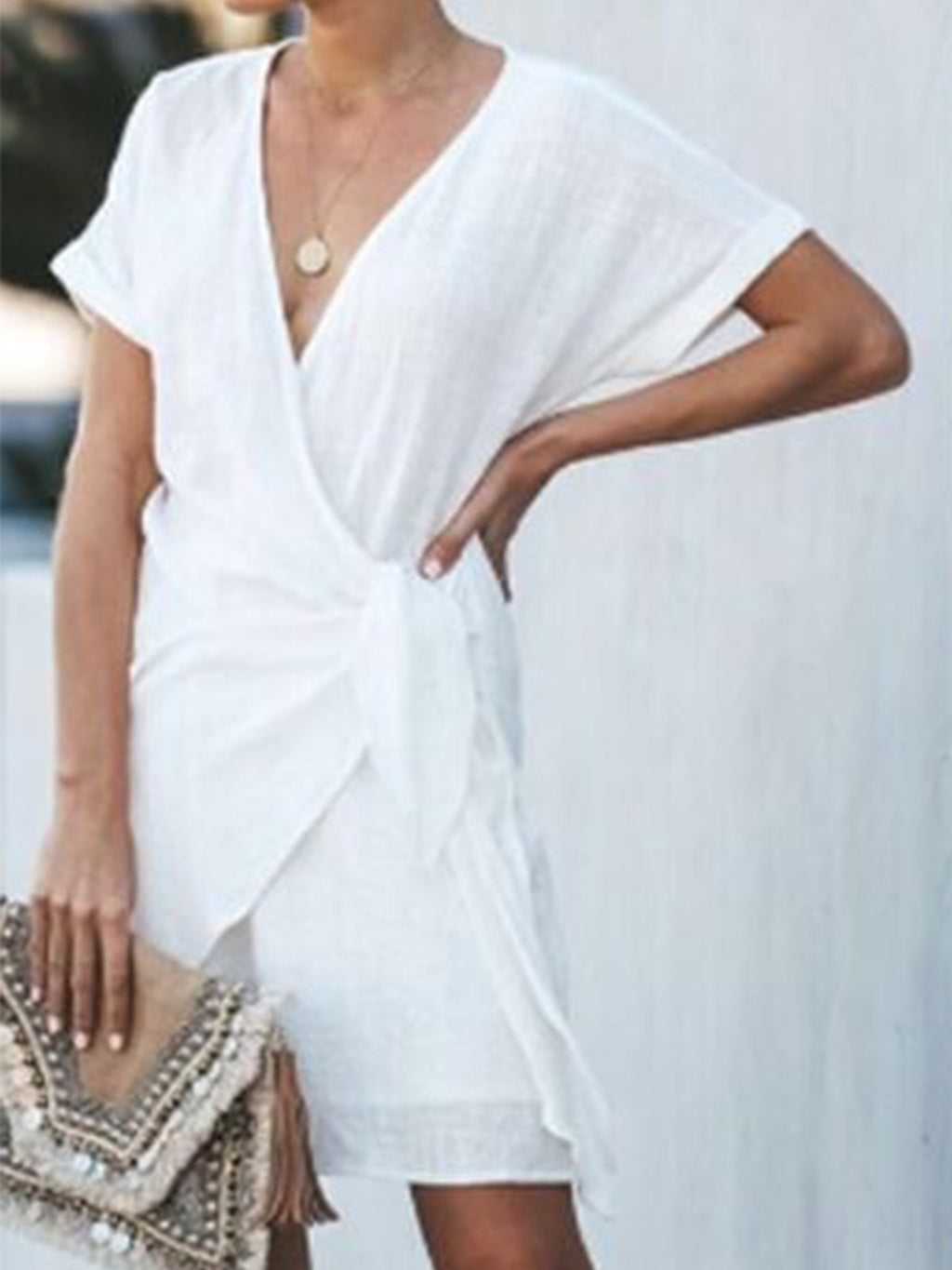 Self-tied Solid Wrap Dress