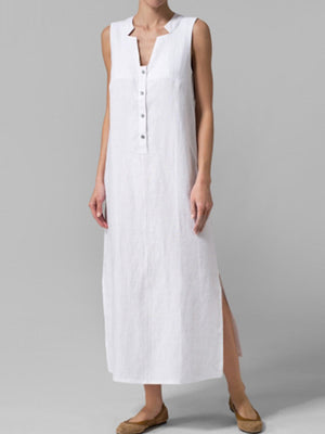 Button Side Slit Sleeveless Long Maxi Dress