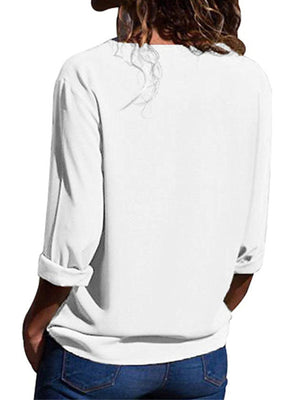 Solid White Color V Neck Long Sleeve Blouse