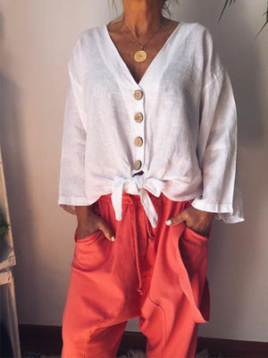 Solid Long Sleeve Flare Sleeve Buttoned Shirt