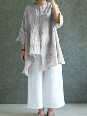 Asymmetric Hem Linen Round Neck Batwing Sleeve Loose Top