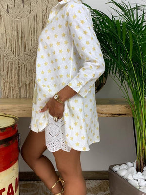 Plus Size Wide Loose Shirt Collar Star Print Buttoned Shirt