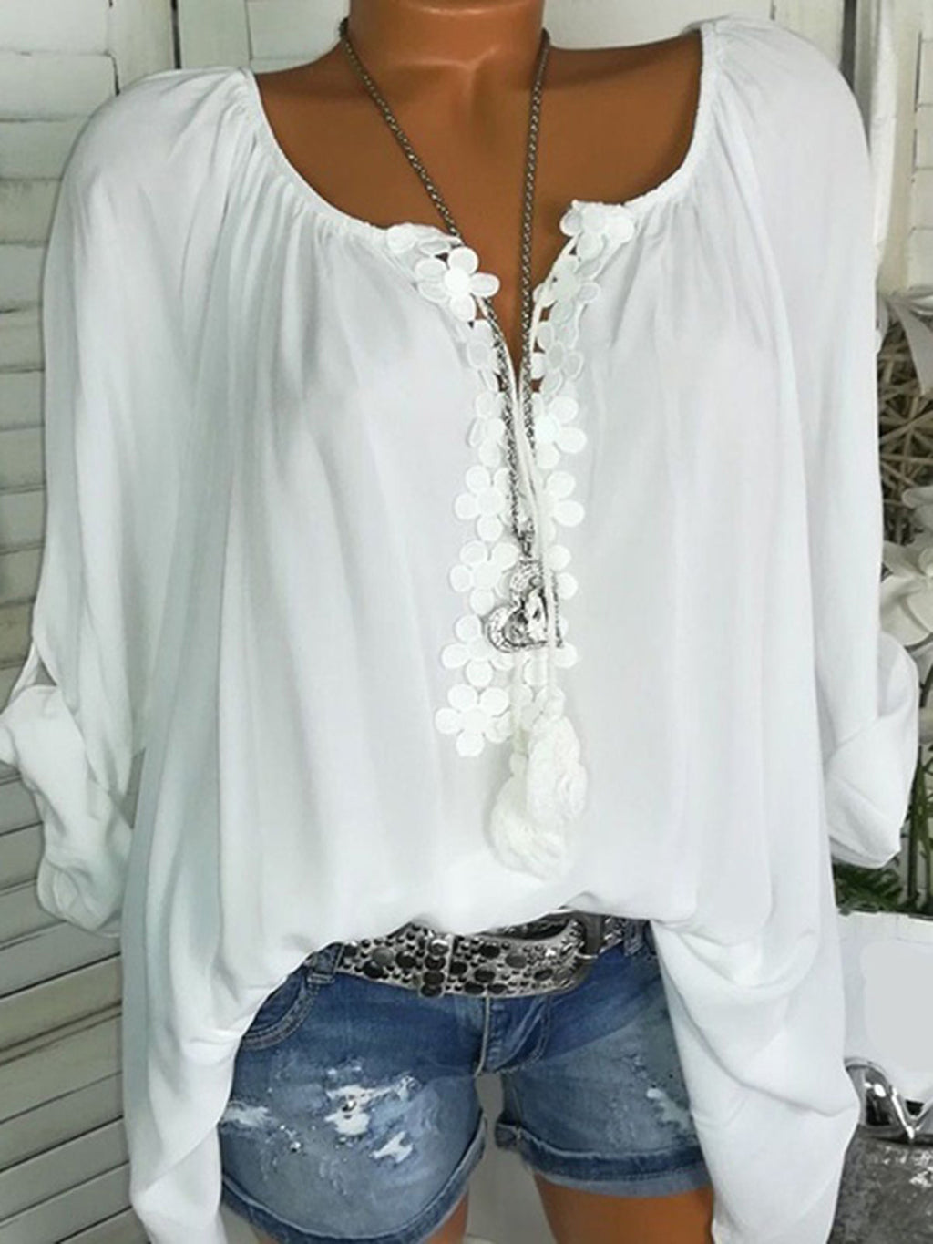 Casual Fringed Boho Tops t Shirts
