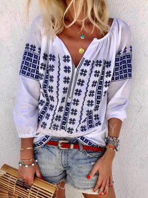 Plus Size V Neck Long Sleeve Embroidery Shirt
