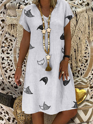 Fox Print V Neck Short Sleeve Midi Dress