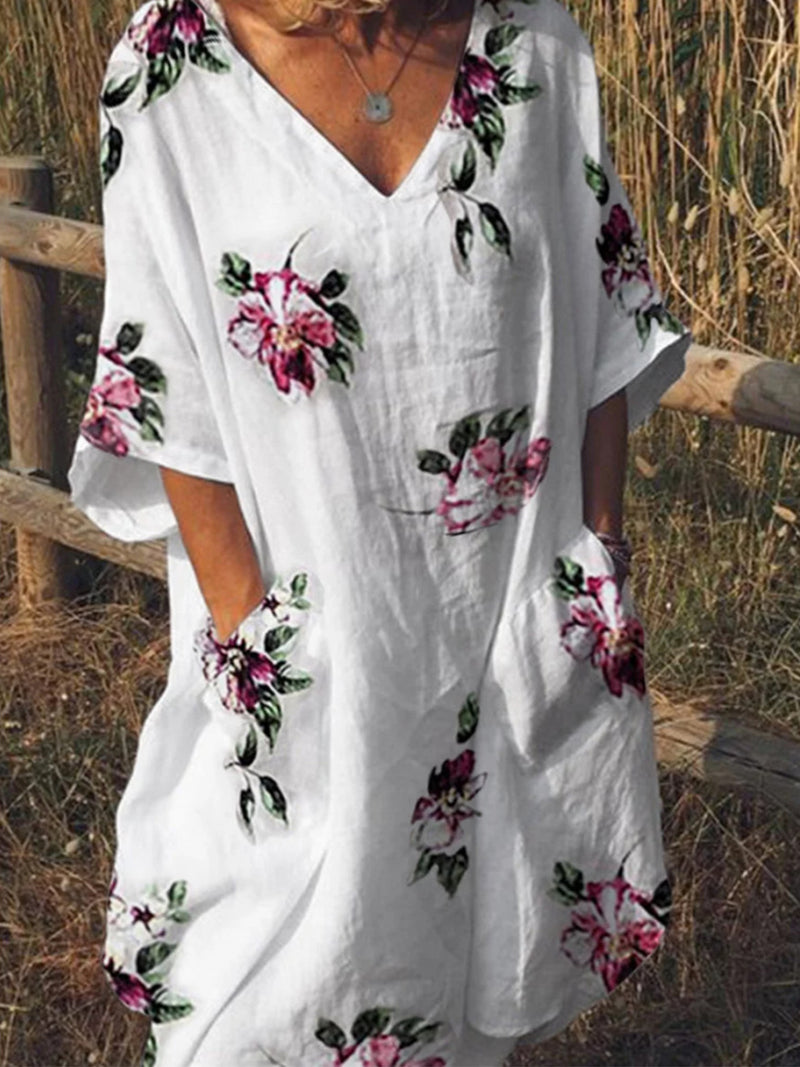 Floral V Neck Patch-pocket Half-sleeve Dress