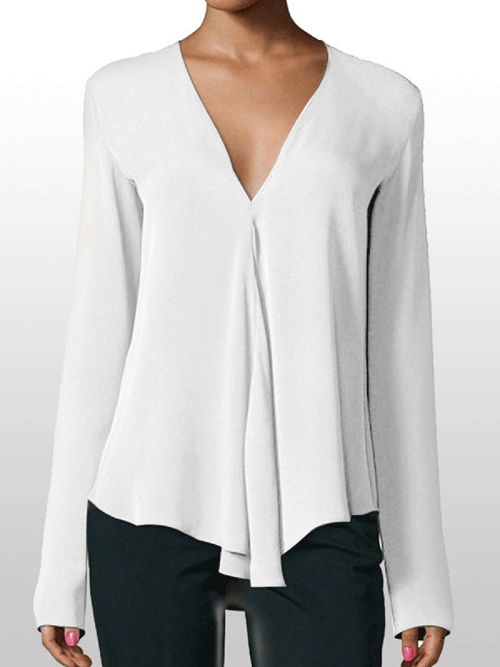 Casual V Neck Solid Chiffon Blouses
