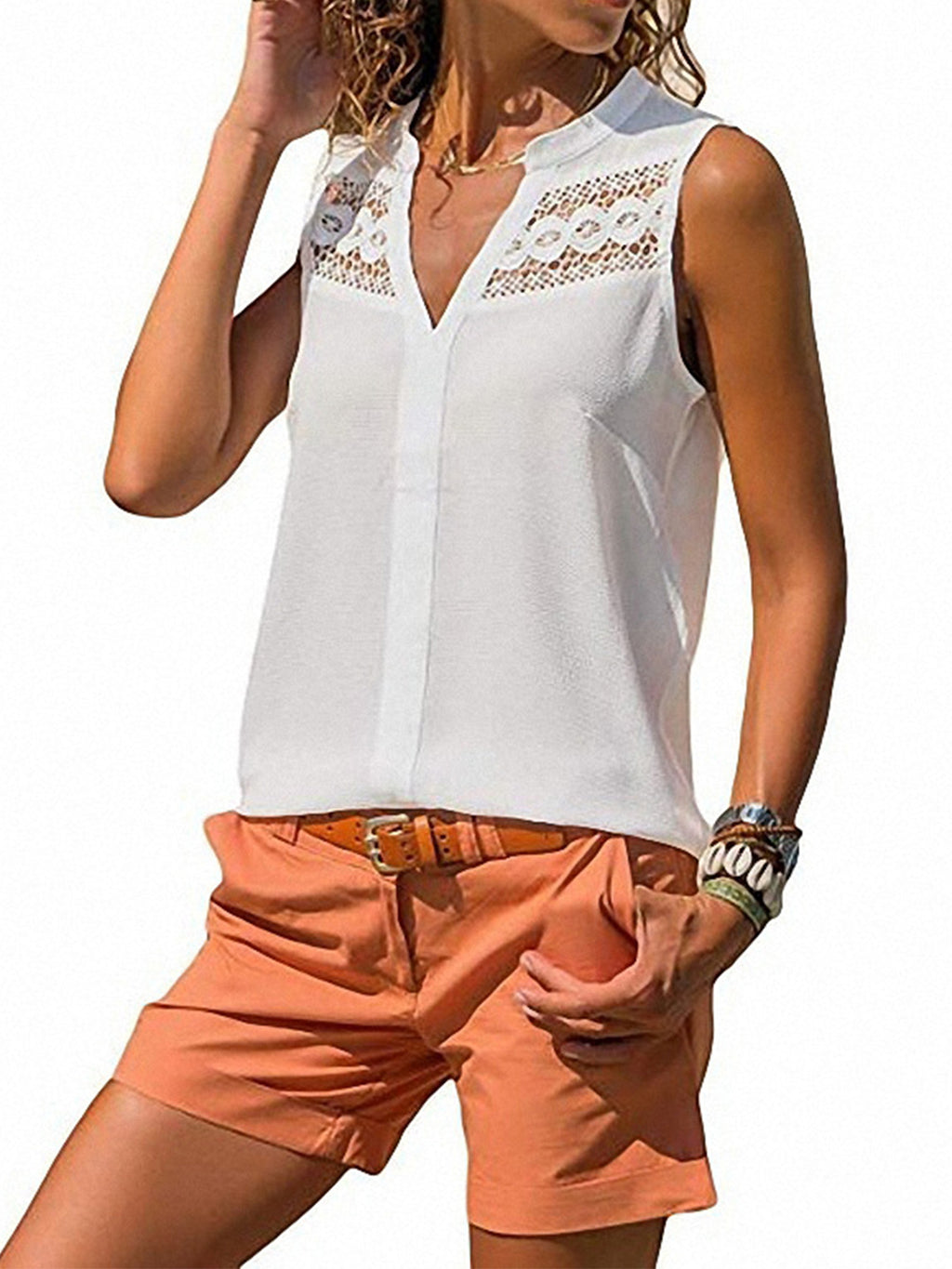 Solid Chiffon Crochet Sleeveless Tank
