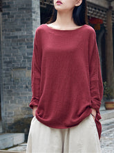 Original Elegant Vintage Women Pullover Neck Long Sleeve Blouse