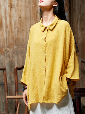 One Size Peter Pan Collar Button Vintage Outwear Shirt
