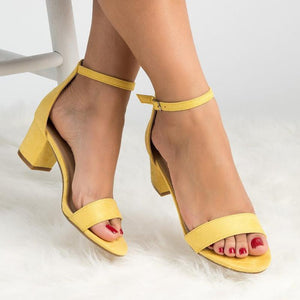 Womens Chunky Heel Buckle Casual PU Sandals