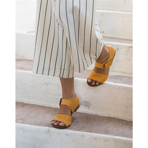 Summer Yellow Casual Low Heels Cut-out Sandals