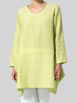 Women Solid Loose Long Sleeve Plus Size Linen/Cotton Blouse
